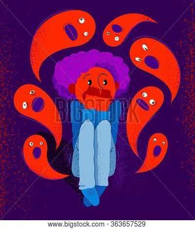 Phobia Of Ghosts And Spirits Paranormal Vector Illustration, Boy Scared In Panic Attack Surrounded W