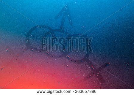 Sexual Orientation Concept Bisexual In Neon Light Background Drops Trend 2020 Color Aqua Menthe Clas