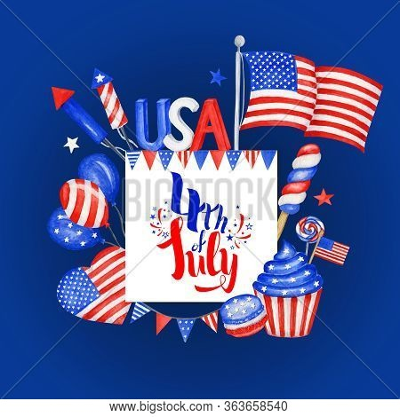 Happy 4th Of July Usa Independence Day Greeting Card With American National Flag And Hand Lettering