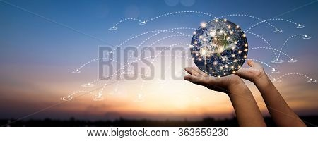 Global Social Network And Connection Internet On Abstract Data Worldwide Cyberspace Concept, Close U