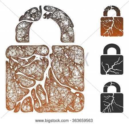 Mesh Rust Lock Polygonal Web 2d Vector Illustration. Carcass Model Is Based On Rust Lock Flat Icon.