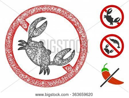 Mesh Seafood Free Polygonal Web Symbol Vector Illustration. Model Is Based On Seafood Free Flat Icon
