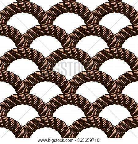 Rope Seamless Pattern, Trendy Vector Wallpaper Background. Weaving Or Fishing Net Macro Detailed End