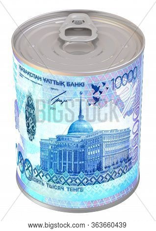 Financial Reserve In Kazakhstan Currency. Tin Can With A Label In The Form Of A Kazakhstan Banknote