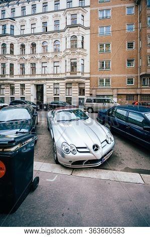 Vienna, Austrian - Jul 5, 2011: New Luxury Silver-colored Mercedes-benz Slr Mclaren Parked On Vienna