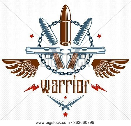 Bullets And Guns Vector Emblem Of Revolution And War, Logo Or Tattoo With Lots Of Different Design E