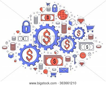 Economy System And Business Concept, Gears And Cogs Mechanism With Dollar Signs And Icon Set, Allego