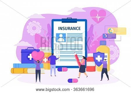Conclude Health Insurance Contract With Clinic Concept Vector Illustration. Man Fill Large Form Docu