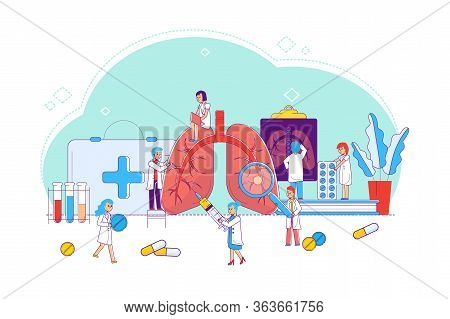 Line Lung Disease Study And Treatment, Concept Vector Illustration. Doctors And Nurses Around Enlarg