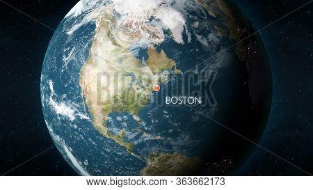 Location Of Boston, Massachusetts, Usa On Globe. 3d Illustration
