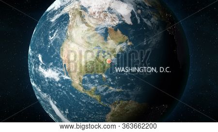 Location Of Washington, D.c., Usa On Globe. 3d Illustration