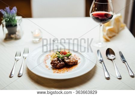 Homemade Minced Beef Meatballs In Tomato Sauce And Mashed Potatoes.restaurant Recipe Recreation.trad