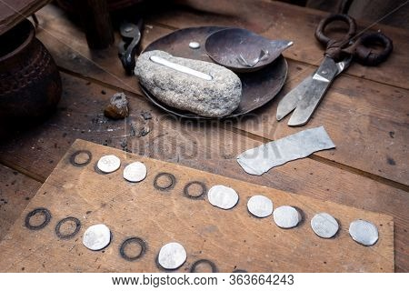 Manual Coinage. Coinage In The Anvil. Work Place. Ancient Russia Art.