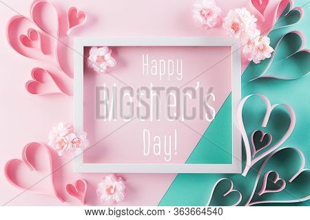 Happy Mother's Day, Women's Day Or Valentine's Day Greeting Concept. Pastel Pink Colours Background