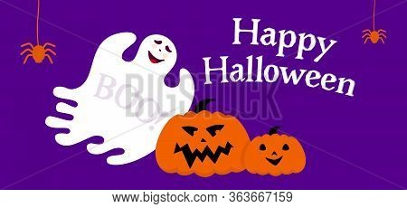 Happy Halloween Empty Banner With Ghost And Pumpkin Cartoon. Blue Background Holiday Spooky Template