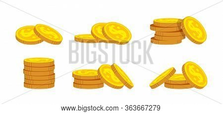 Pile Gold Coin Flat Cartoon Set. Neat Money Piles, Various Bunche Gold Coins Heap, Mountain Bank Cur