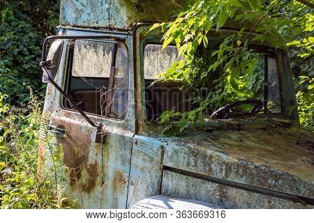 Old Rusty Abandoned Truck In A Green Forest