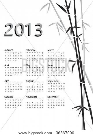 A 2013 calendar. Chinese style with bamboo background in black and white. EPS10 vector.