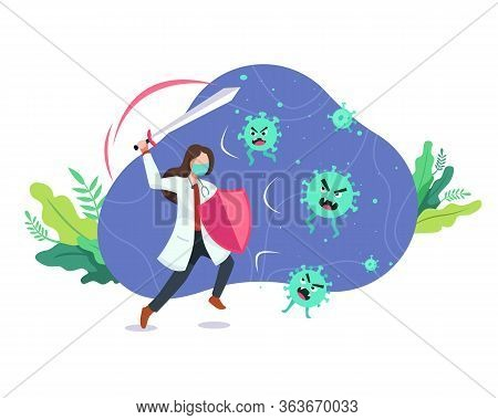 Doctor Fighting The Virus. Female Doctor With A Shield And Sword, Fight And Protecting From Covid-19