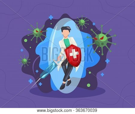 Male Doctor Fighting The Virus Illustrated. Doctor With A Shield And Syringe, Fight And Protecting F