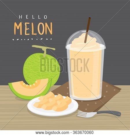Set Of Fresh Japanese Melons, Orange Melon Or Cantaloupe Melon With Smoothie. Cartoon Vector Illustr