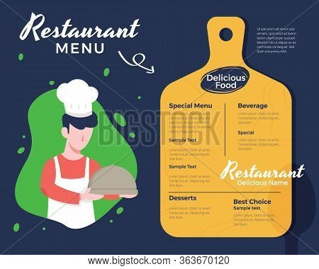 Vector Illustration Male Chef Holding A Tray. Creative Menu Design, Menu Template And Layout Menu. R