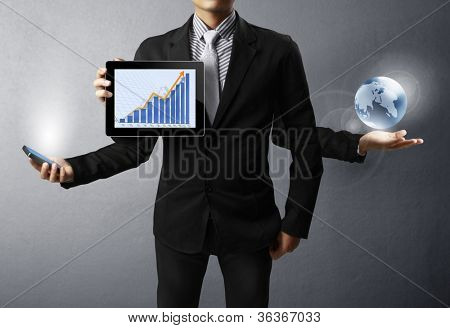 holding a glowing earth and tablet,mobile phone in his hands