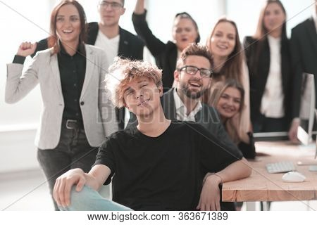 close up. portrait of a group of happy employees in the workplace