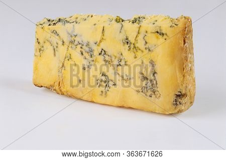 Piece Of French Roquefort Cheese Isilated On White Background.