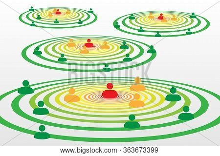 People Silhouette Symbols In Concentric Circles Concept With Covid-19 Contact Tracing System With Re