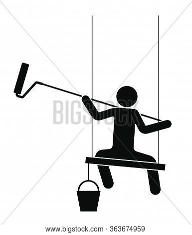 Man Paints A Wall With A Roller On A Long Handle. Sits On A Board, High-altitude Work. Isolated Vect