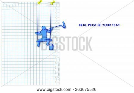 Template Mock Up On A Squared Notebook Sheet. A Man Paints A Wall With A Roller On A Long Handle. Si