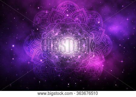 Circular Flower Mandala With Galaxy Background, Vector Mandala Oriental Pattern, Hand Drawn Decorati
