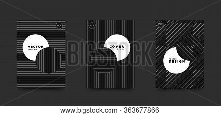 Minimalist Black And White Cover Set. Circles And Straight Line Pattern. Vector Design Template For