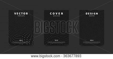Big Data Background. Wave Of Particles. Dots Futuristic Cyber Backdrop. Black And White Technology C