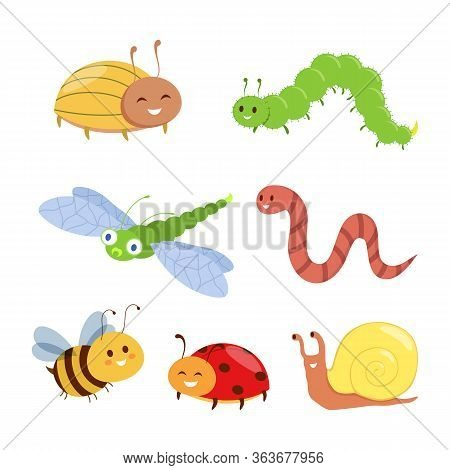 Insects Happy Cute Characters Set. Bug, Ladybug, Worm, Bumblebee, Snail, Dragonfly. Vector Illustrat