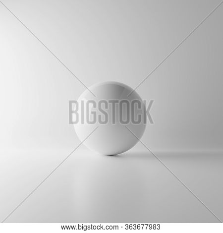 Abstract White Reflection Sphere Ball On White Background With Lighting And Shadow. Realistic Mockup