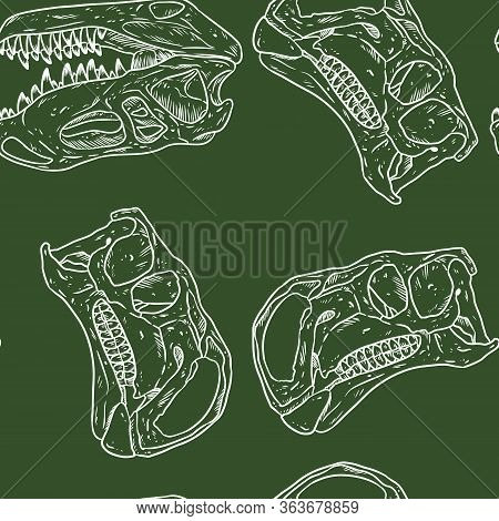 Carnivorous Reptile Dinosaur Fossils Seamless Pattern. Trex Fossilized Skull Wallpaper. Vector Backg