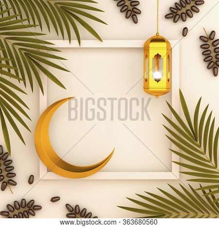 Dates Fruit And Leaves, Gold Lantern, Cresent On White Beige, Ramadan Kareem, Eid Al Fitr Adha, Copy