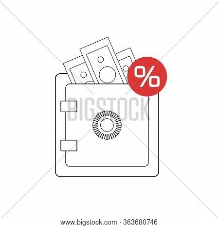 Keep Money In Deposits With Interest. Safe Bank Vault. Outline Illustration Of A Safe With Money And