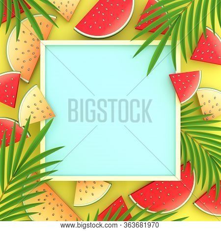 Tropical Palm Leaves, Watermelon Banners, Invitation Card Design, Summer Background, Tropical Backgr