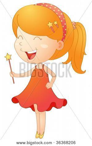 Abbildung eines Mädchens mit Magic Stick auf einem weißen