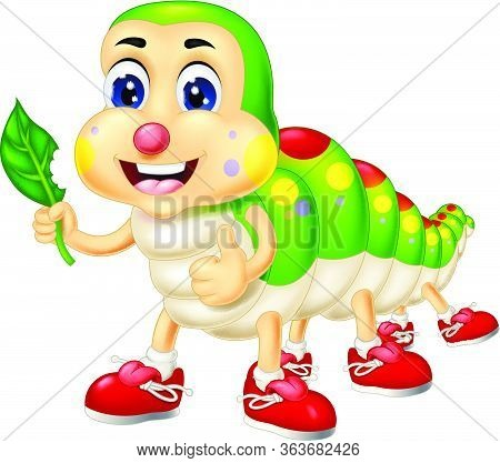 Funny Colorful Caterpillar Wear Red Shoes Hold Leaf Cartoon Vector Illustration Isolated