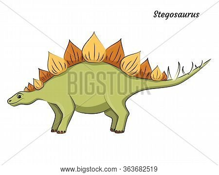 Cute Cartoon Stegosaurus Dino Character. Vector Isolated Dinosaur In Bright Colors. Illustration For