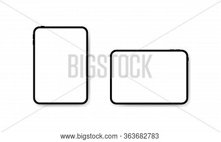 Tablet Computers Mock Up Front View Vector Illustration. Horizontal And Vertical Tab Image