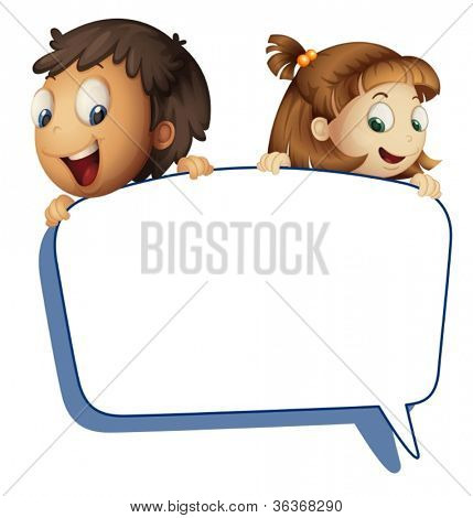 illustration of girl and boy holding callout picture on a white