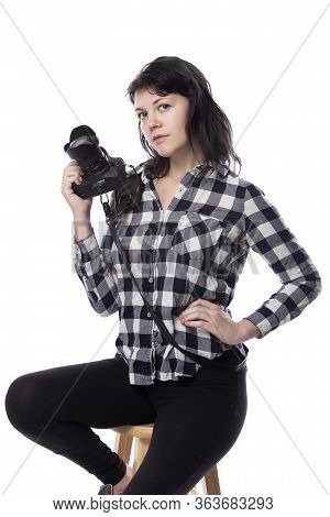 Young Female Art Student Holding A Dslr Camera And Studying To Be A Professional Or Amateur Photogra