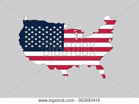 Flag Of Usa In The Shape Of The Country. Vector Graphic Of American Flag Shaped To Form The Borders