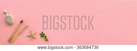 Flat Lay Accessories For Hygiene And Body Care: Pumice Stone, Wooden Toothbrushes With Starfish And