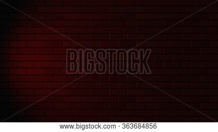 Black Brick Wall With Red Neon Light With Copy Space. Lighting Effect Red Color Glow On Brick Wall B
